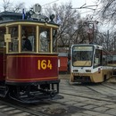 Tram parade on Chistoprudny Boulevard to celebrate tram's 116th birthday