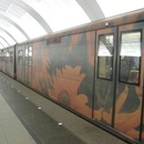 An unusual train on the Arbat line of the Moscow Metro
