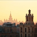 Sunset from the roof of the house at Krasnopresnenskaya Embankment
